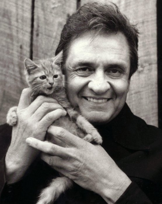 Johnny Cash with a kitten 1983.