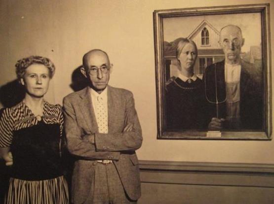 "The models for ""American Gothic"" (Grant Wood) circa 1930s."