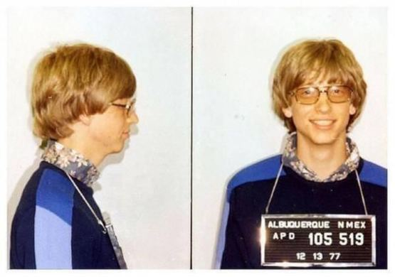 Bill Gates' mug shot after being arrested for driving without a license, 1977