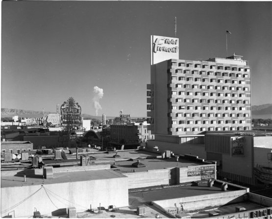 Mushroom cloud as a result of nuclear testing as seen from downtown Las Vegas, 1957.
