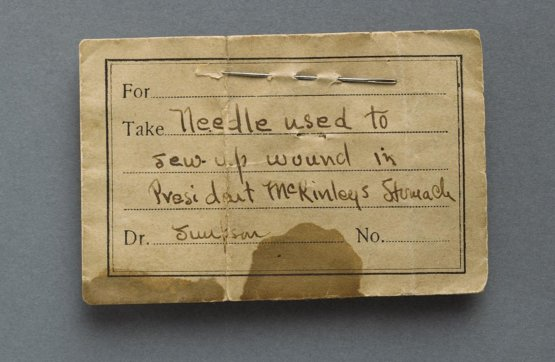 Needle used to sew President McKinley's stomach after he was shot in Buffalo NY.