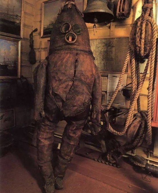 The world's oldest surviving diving suit: The Old Gentleman, from 1860.