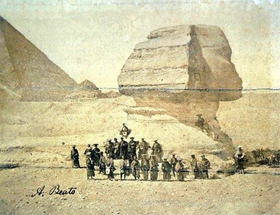 A group of samurai in front of the Sphinx, Egypt, 1863.