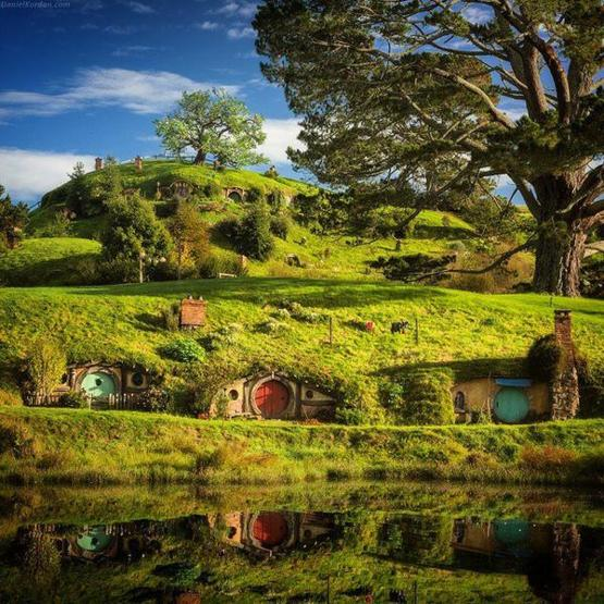 The famous Hobbiton in New Zealand