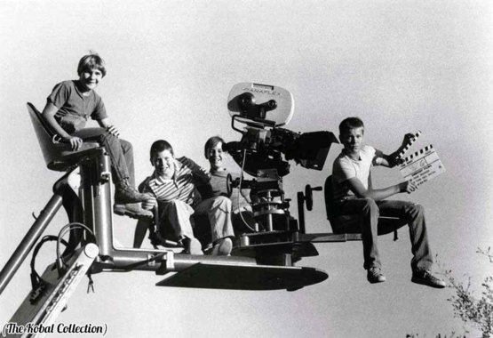 Corey Feldman, Jerry O'Connell, Wil Wheaton, and River Phoenix on the set of Stand By Me, 1986.