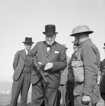Winston Churchill with a Tommy gun, July 31, 1940