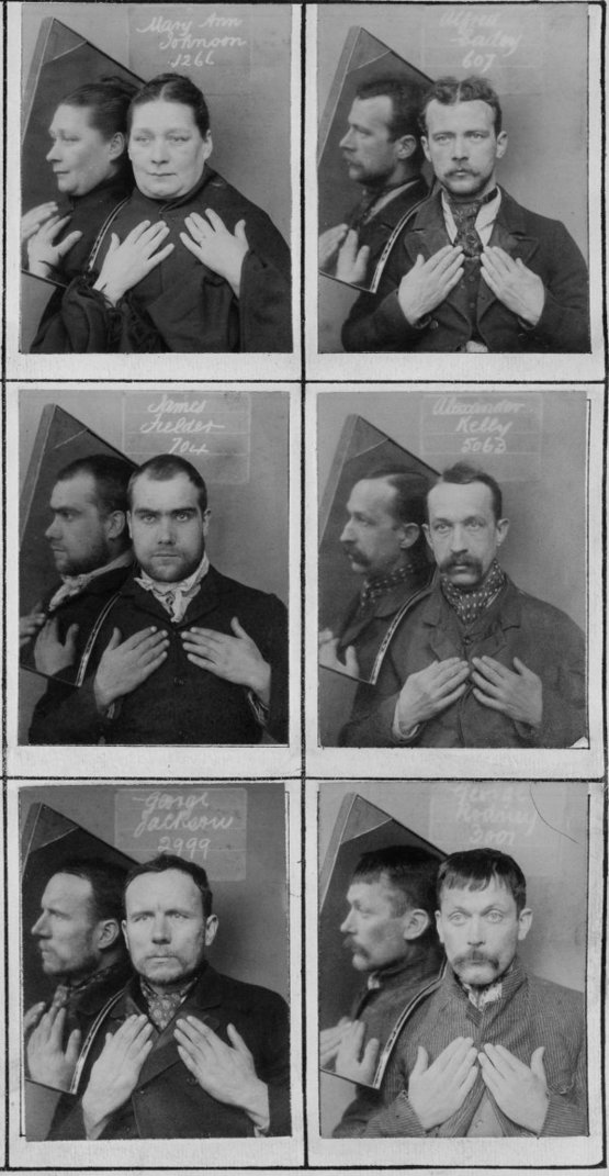 Some of the world's first mugshots included mirrors and the subjects' hands, circa 1980s.