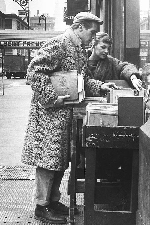 Paul Newman and Joanne Woodward go record shopping in Paris, photographed by Gordon Parks, 1959