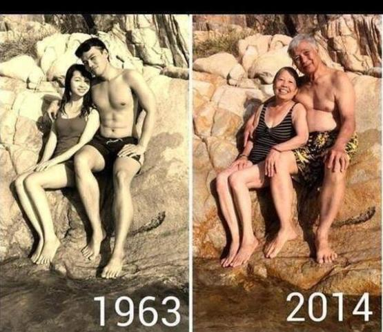 Couple pose for picture in the same place, 51 years apart.