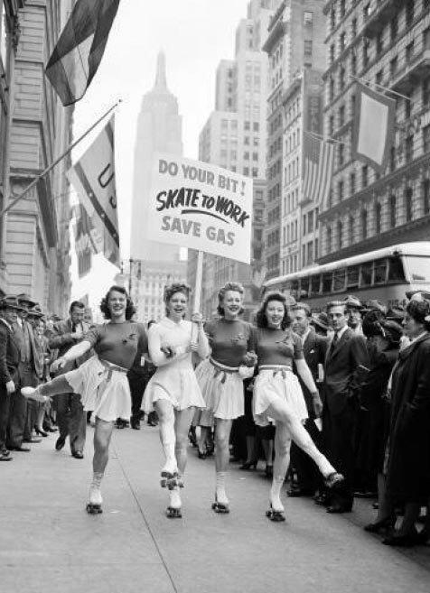 """""""Do your bit! Skate to work!"""", New York City, 1940s"""